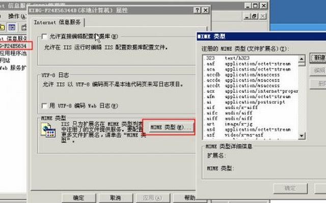 windows 2003 IIS 6.0 如何添加MIME扩展类型及常用的MIME类型列表