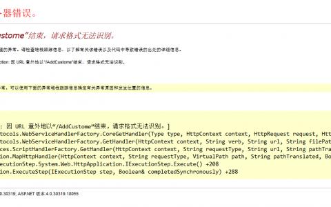"""错误:因 URL 意外地以""""/HelloWorld""""结束,请求格式无法识别"""