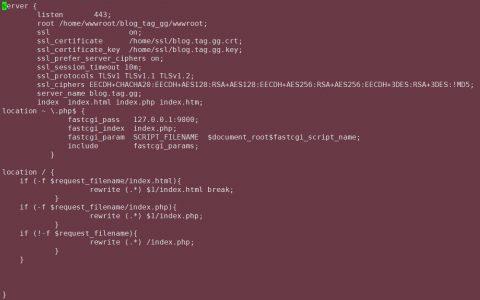 一段简单完整的Nginx下部署SSL+支持PHP+WordPress伪静态的代码