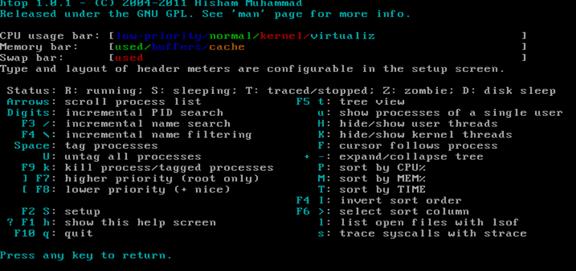 通过htop命令查看内存实际使用容量以及htop命令详解 服务器系统 第9张